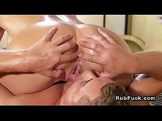 Huge tits masseuse sucks in sixtynine