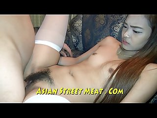 Small tittie asian with long black pubes