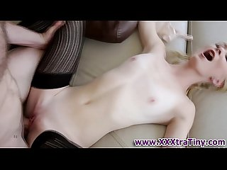 Tiny blonde gets cumshot