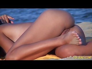 Amateur voyeur nudist couple back shaved pussy beach video
