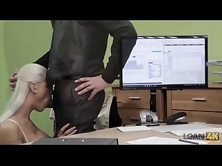 Loan4k agent gives blonde some money for on line shop with lingeri