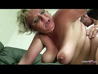 Hairy Fat Mature Grandma Gabi Seduce to Fuck by Young Boy