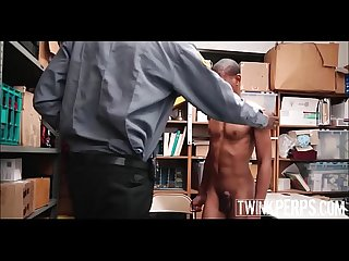 Two Black Straight Twinks Have Sex With Black Jock Mall Cop With Huge Cock After Being Caught..