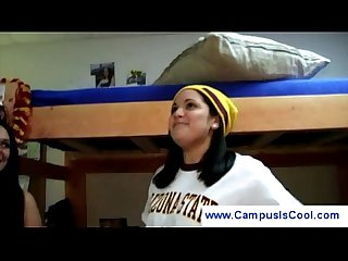 Chubby college girl undresses at campus