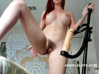 Unshaven fucks herself with Sex toy angelsluts period com