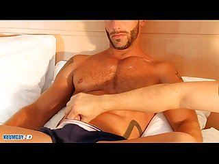 aymeric a very sexy muscle guy get wanked his huge cock by me!