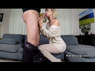 Hot blonde bangs cops dick indoor
