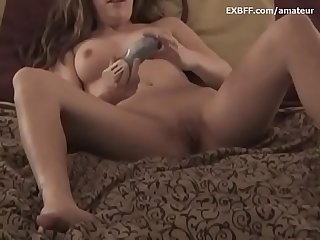 Sexy long haired skinny amateur takes off panties
