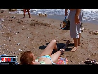 Cute young teeny girl gets fucked on the beach in a great threesome