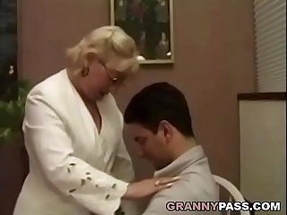 Granny teacher flirts with her student