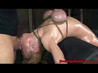 Restrained sub throatfucked