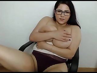 Glasses bbw with super big tits on cam