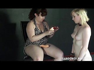 Blonde satine spark in bizarre lesbian humiliation and cruel submission