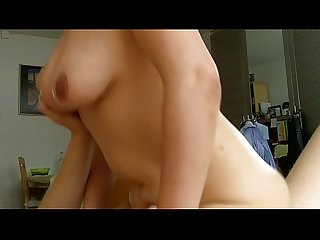 Big natural tits chubby amateur slut Katja rides and moans like a pro