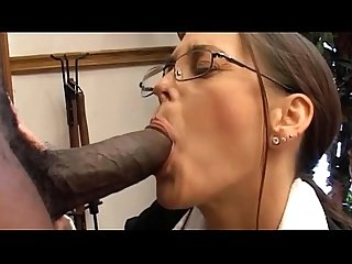 White milf sucking big black cock