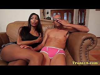 Ebony tgirl in costume riding hard dick