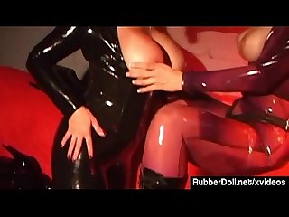 Rubberdoll strapon bangs jewell marceau in latex catsuits
