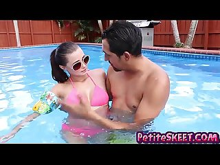 Tiny whore carolina sweets smashed by the pool by big tool