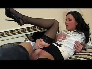 Stockings clothed euro glamorous bitch