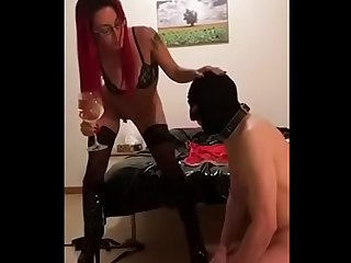 Mistress red devil drink my piss slave