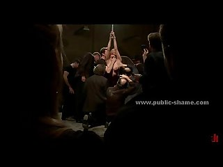 Slut naked and immobilized in public sex