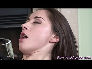 Fetish babe gives footjob