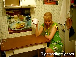 Blonde wife fucked at the kitchen table tightandhorny com
