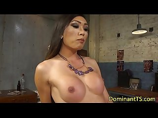 Jerking asian transgender babe anal fucks guy