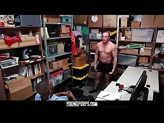 YoungPerps - Big mouthed muscle dude gets fucked hard by black mall cop