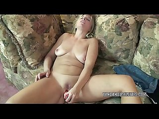 Busty housewife liisa uses a dildo to fuck her wet pussy