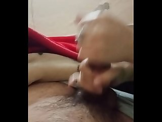 My big boobs gf jerking my big dick hard to cum