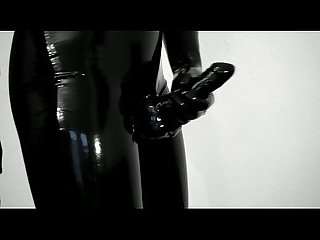 Trying on my new tight, shiny latex pants and gloves