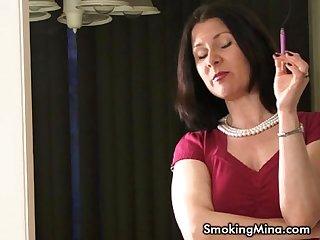 Sexy smoker milf talks while smoking