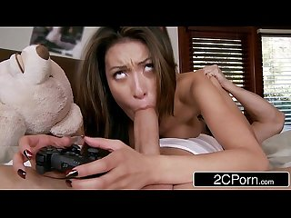 Jerk that joy stick big tit Asian Teen jayden lee is a hardcore video gamer