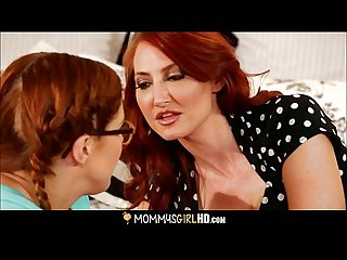 Mom teaching nerdy daughter lesbian sex