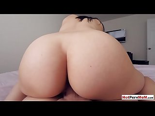 My frustrated busty MILF stepmom came in and fucked me