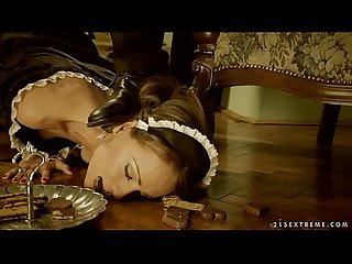 Clumsy Maid Sophie Lynx punished by her lord
