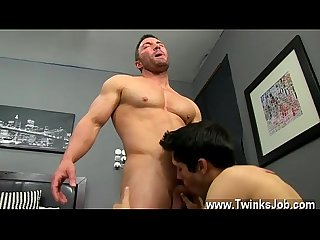 Gay cum facials porn he gets on his knees and deep throats brock S