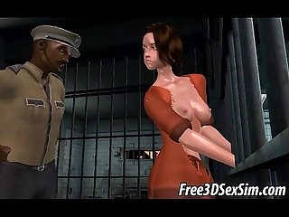Foxy 3d bruentte getting fucked hard by an ebony stud