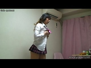 Japanese schoolgirl take off school uniform