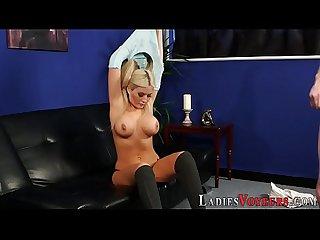 Busty blonde domina babe