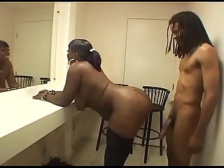 Sexy black fat girl in stockings banged on a chair