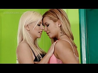 Blonde hot lesbos in lingerie kissing with lust