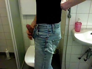 Boy piss in jeans