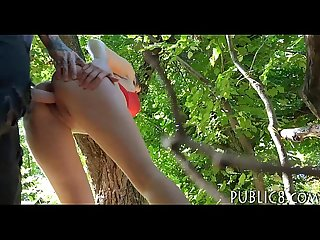 Sexy czech babe flashes tits and banged in the woods