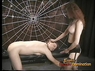 Slim redhead bitch enjoys banging her man with a huge strap-on