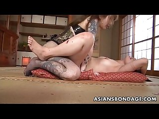Rough asian mistress plows her sweet slave girl