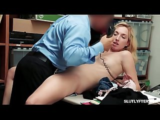 Shoplyfter Tali Dova goes down on her knees and swallow the whole slab!