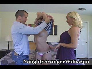 Teen swings with naughty couple