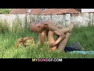 Old man eats his son S gf pussy in the fields